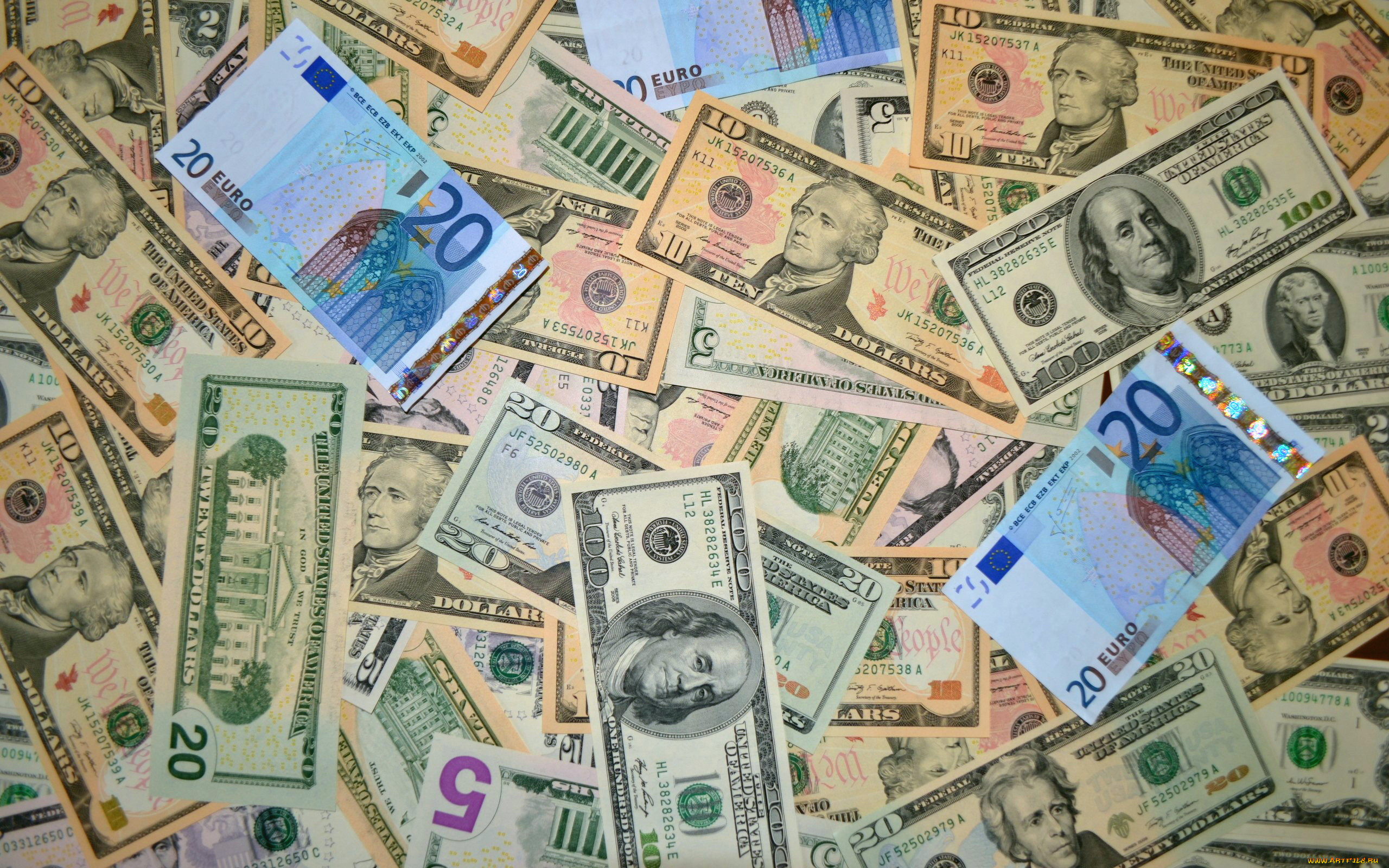 Картинки с денежными знаками доллар и евро